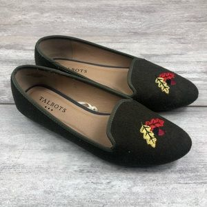Talbots green embroidered flats